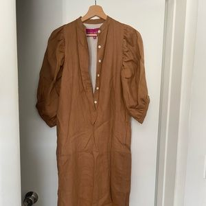 Heidi Merrick camel linen dress new with tags XS